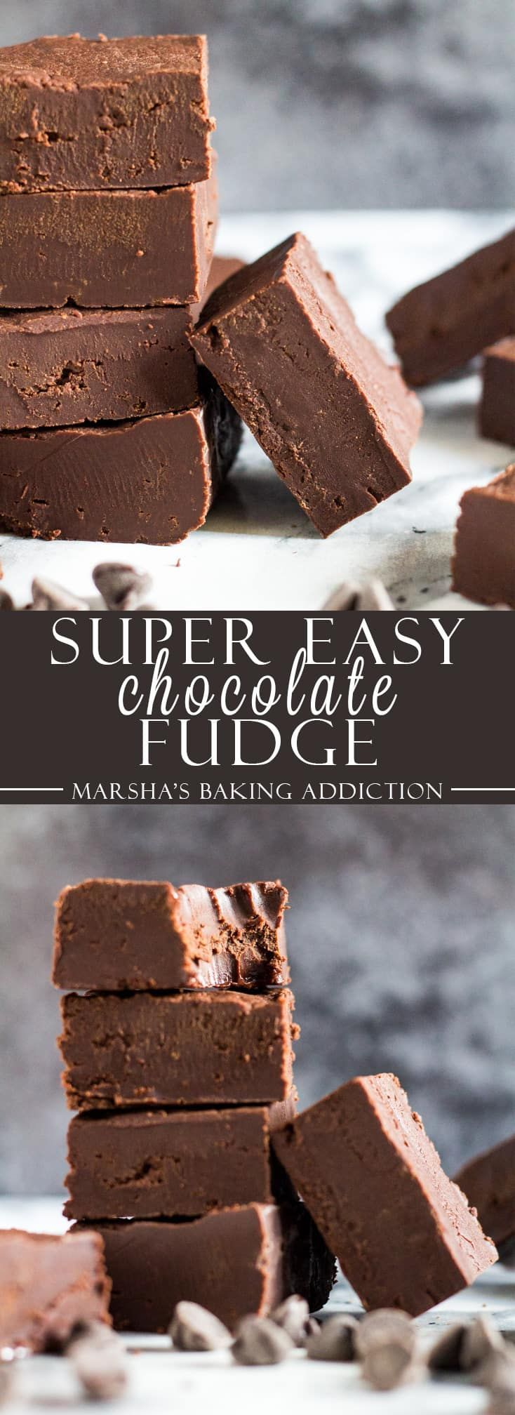 Easy Chocolate Fudge - Incredibly easy and deliciously creamy chocolate fudge that only requires 4 ingredients to make! Recipe on marshasbakingaddiction