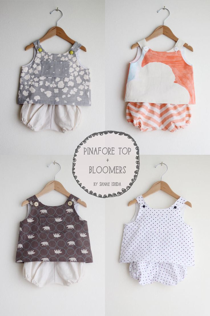 Baby Pinafore Top + Bloomers Digital Pattern Set by SanaeIshida on Etsy https://www.etsy.com/listing/251599449/baby-pinafore-top-bloomers-digital