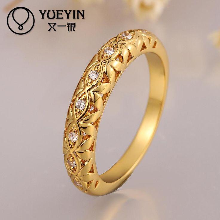 k amarillo chapado en oro circn anillo para hombres mujeres unisex joyera de la boda