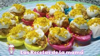 Receta de huevos rellenos de colores