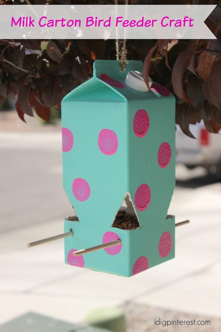 I Dig Pinterest: How to Make a Milk Carton Bird Feeder: A Perfect Kids' Craft!