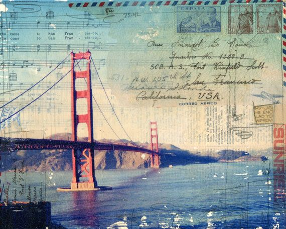 Golden Gate No. 2 paper print - San Francisco California mixed media collage