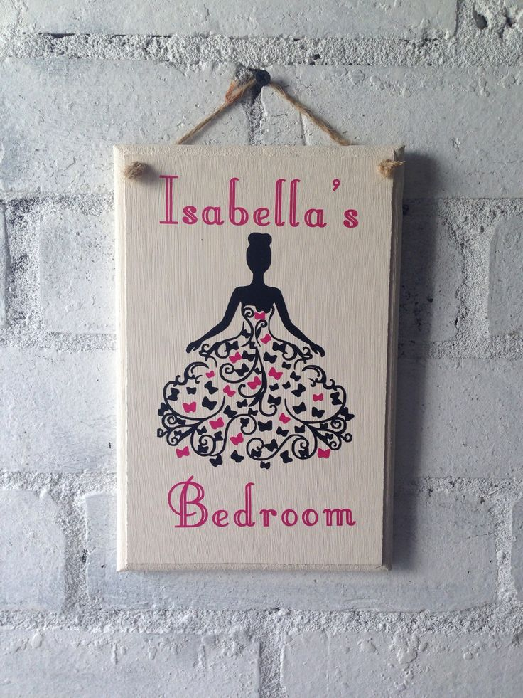 Beautiful wooden bedroom door sign. Personalised with name and lady with a butterfly dress by AceSentimentalGifts on Etsy https://www.etsy.com/listing/287920385/beautiful-wooden-bedroom-door-sign