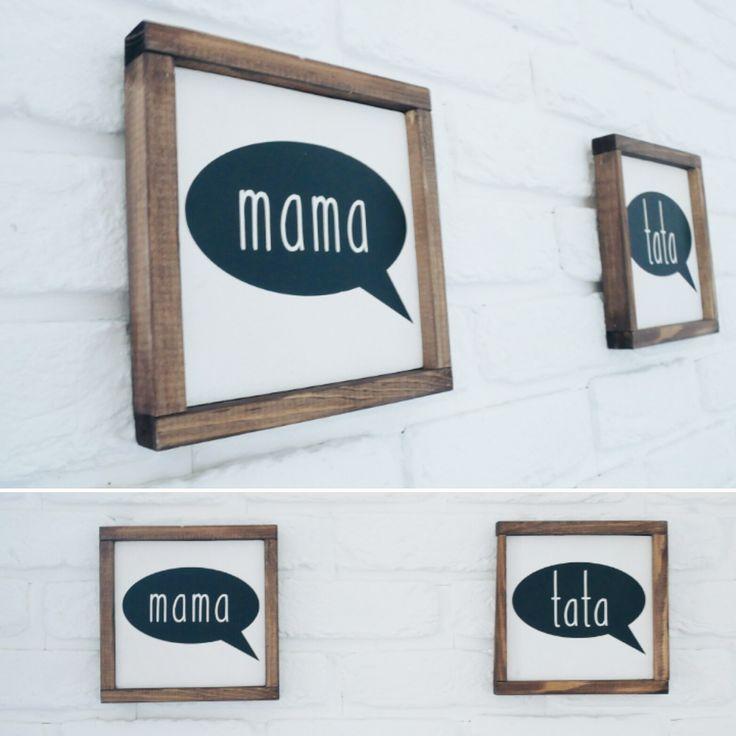 Mama & Tata | Obrazy i Obrazki | Obrazy z ramką | Drewniane dekoracje | Styl skandynawski | Wooden sign | Black&White