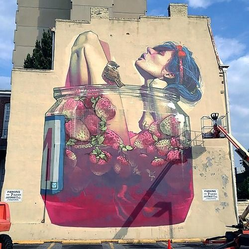 street art, strawberries