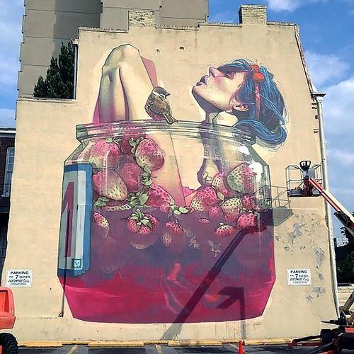street art, strawberries
