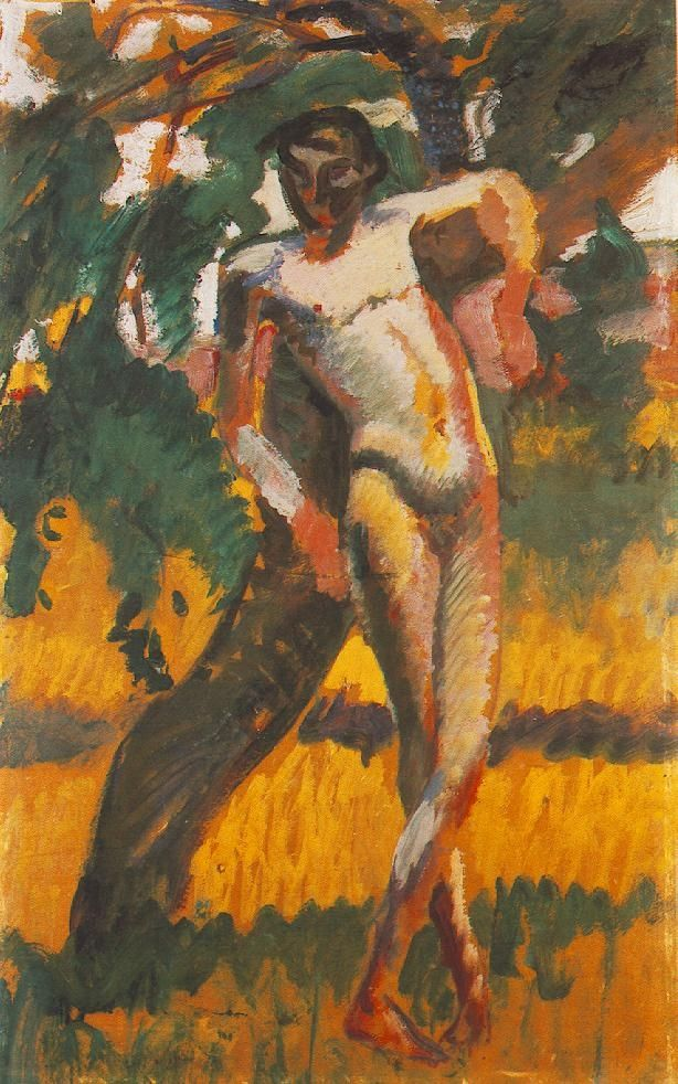 KERNSTOK Károly: Nude Boy Leaning against a Tree, 1909
