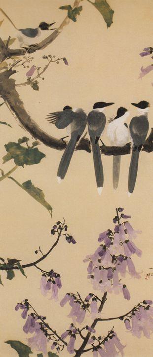 桐花に尾長鳥 Isson Tanaka