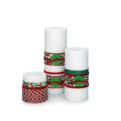 Holiday Velvet Ribbon-Wrapped Pillars. All you need is some ribbon in different sizes and buttons to top them off