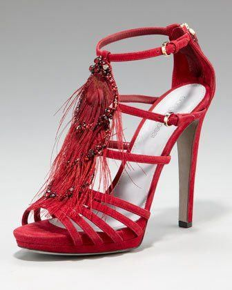 a34f0fab4d48e Sergio Rossi - Cannes Peacock Feather Sandal Red Stilettos
