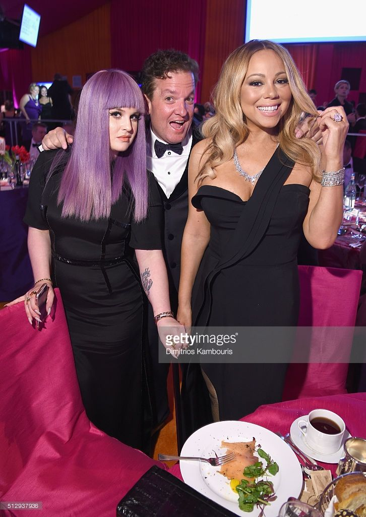 TV personality Kelly Osbourne, Jeff Beacher and singer Mariah Carey attend the 24th Annual Elton John AIDS Foundation's Oscar Viewing Party at The City of West Hollywood Park on February 28, 2016 in West Hollywood, California.