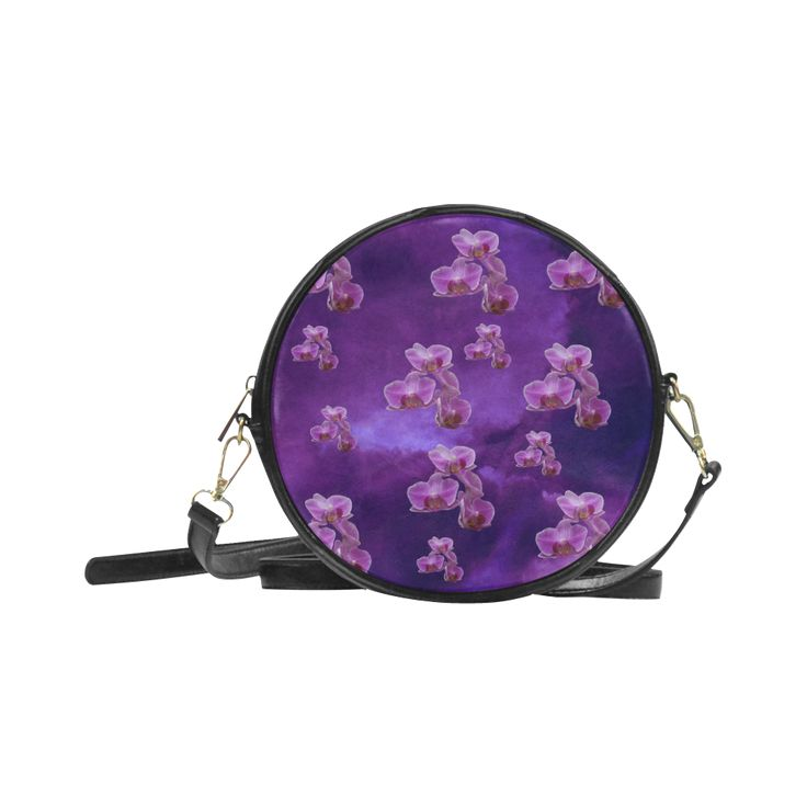 Purple Orchids Round Messenger Bag. FREE Shipping. #artsadd #bags #flowers