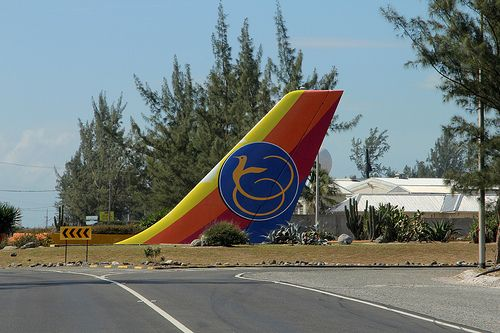 Air Jamaica tail section at entrance to Norman Manley International Airport Kingston Jamaica 2013