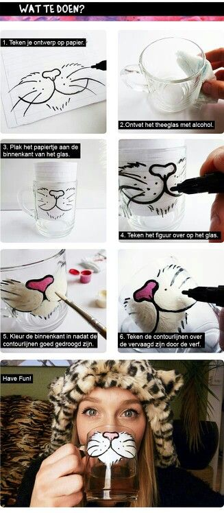 Painted Kitty Glass Mug
