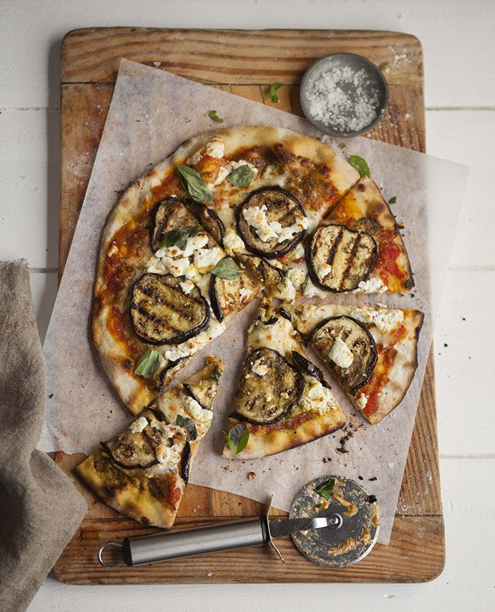 grilled aubergine pizza with goats cheese and pesto