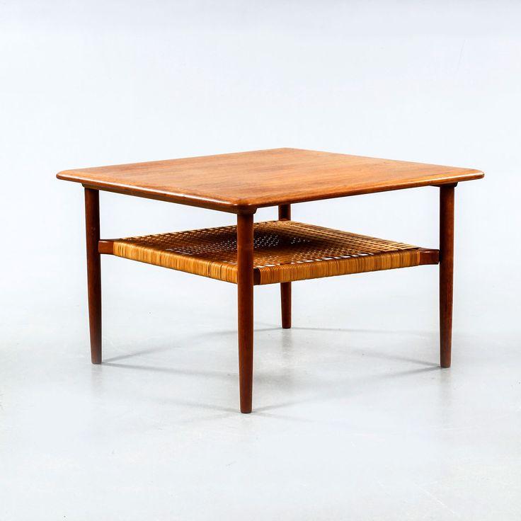 Teak side table with shelf made in rattan designed by Kurt Østervig for Jason Mobler. Produced in Denmark ...