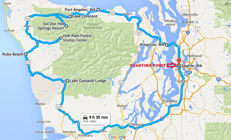DRIVING ITINERARY FOR WASHINGTON STATE: Visit the Hoh Rainforest, Lake Quinalt, Ruby Beach, Port Angeles, Lake Crescent and Seattle.