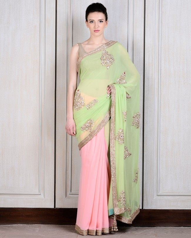 Pista Green and Pink Georgette Half N half Saree # Women # Occasion # Half N Half saree # beautiful