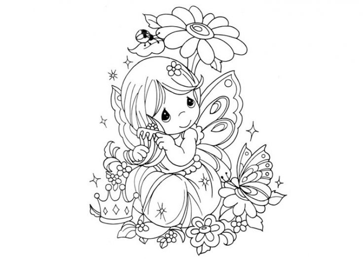 Little Fairy Girl With Butterfly Wings Coloring Pages