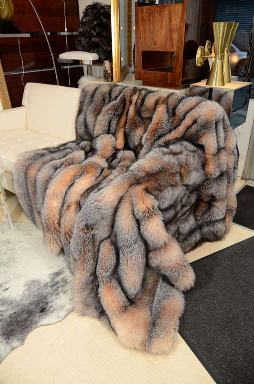 Throw, Fox Fur | From a unique collection of antique and modern pillows and throws at https://www.1stdibs.com/furniture/more-furniture-collectibles/pillows-throws/