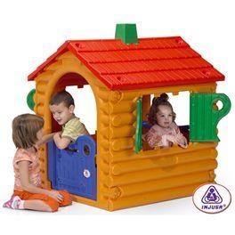 """Casa de jardín de Troncos """"The hut"""". Medidas: 92,5 x 108,5 x 123 cm. A partir de 2 años. Fantástica casita de troncos (imitación), con puerta de entrada, chimenea (imitación), y buzón de correos.  Más info y compra en: http://www.elosito.com/casitas-toboganes-columpios-casas-jardin/4594-casa-de-troncos-the-hut-8410964020327.html"""