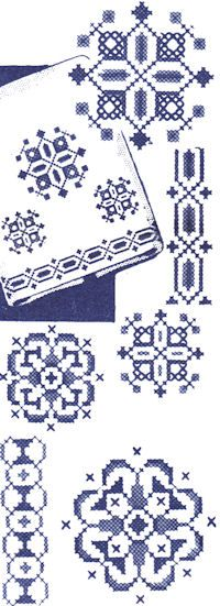 Vintage Cross Stitch designs. Downloadable and printable. Fun to do in different color themes.