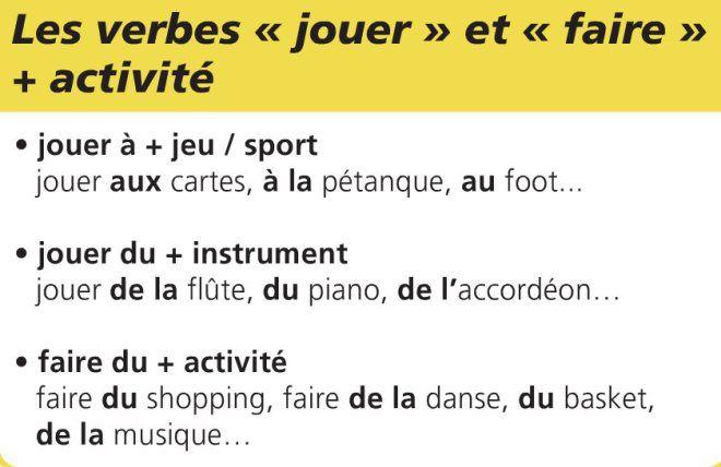 Jouer faire + activité