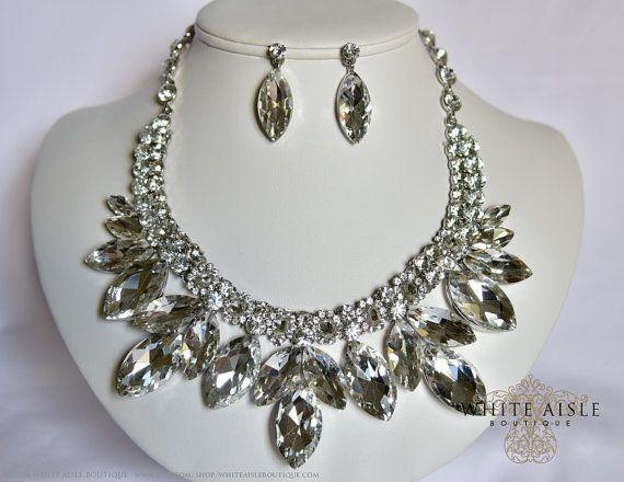 Ensemble de bijoux Crystal Bridal, Vintage inspiré mariée collier, collier de déclaration de strass, collier Chunky, bijoux de mariage