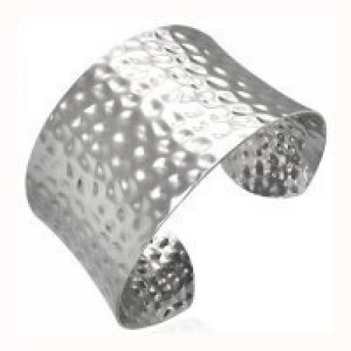 Bling Jewelry Hammered Stainless Steel Cuff Bangle Bracelet 8in