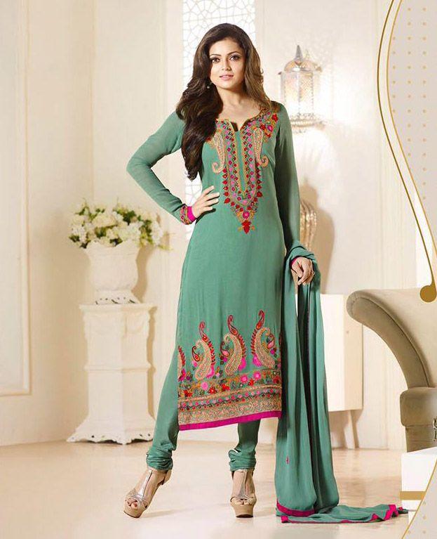 #Drashti #Dhami In Green Georgette #Straight  Cut #Suit #nikvik  #usa #designer #australia #canada #freeshipping #bollywood