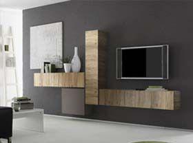 Composizione parete moderna di design, rovere miele e peltro - 327x169 cm