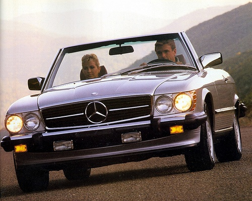 The Mercedes 500 SL (R107), introduces late 70s but iconic for the 80s. (Remember Bobby Ewing's Red SL in Dallas)