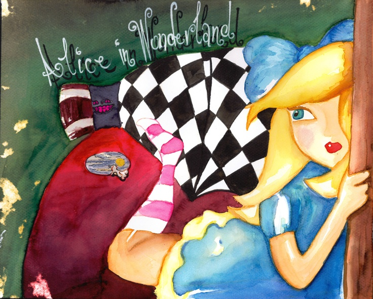 Project: Storybook cover.   Alice in Wonderland  Water colours, colour pencils and duct tape   (c)Helena Sam Galiti