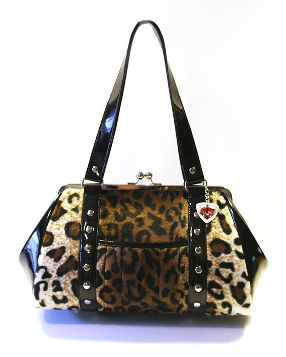 Leopard Handbag with Your Choice of Vinyl Trim by HOLDFASThandbags