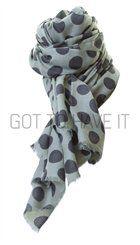 whiite - Winnie - Blågrønt tørklæde med blå prikker