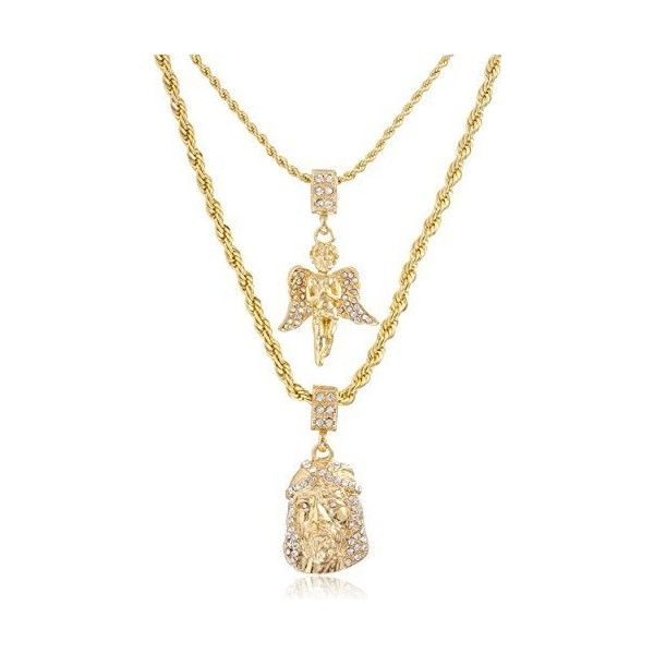 """Mens Gold Two Piece Iced Jesus Prayer Hand Set Pendant Hip Hop 24"""" 30""""... ❤ liked on Polyvore featuring men's fashion, men's jewelry and men's necklaces"""