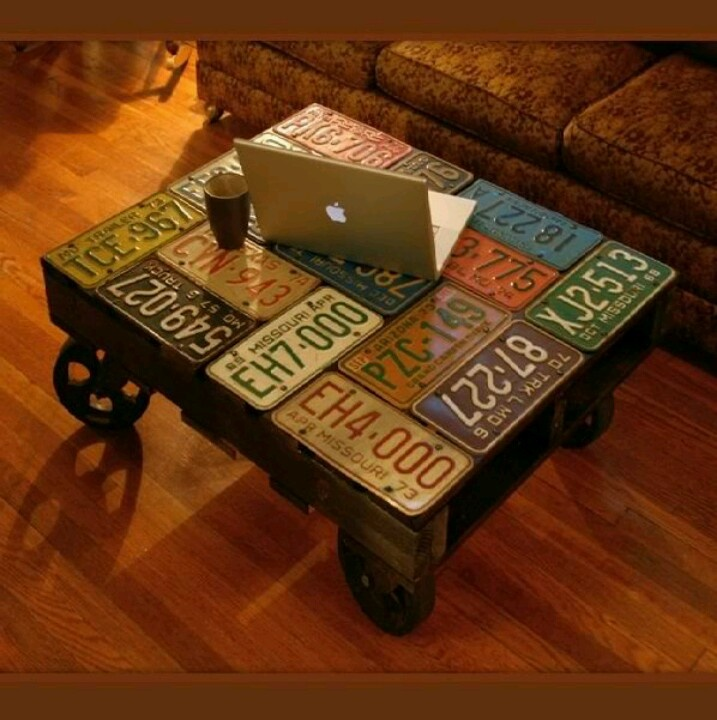 Old license plates now table top (I like)