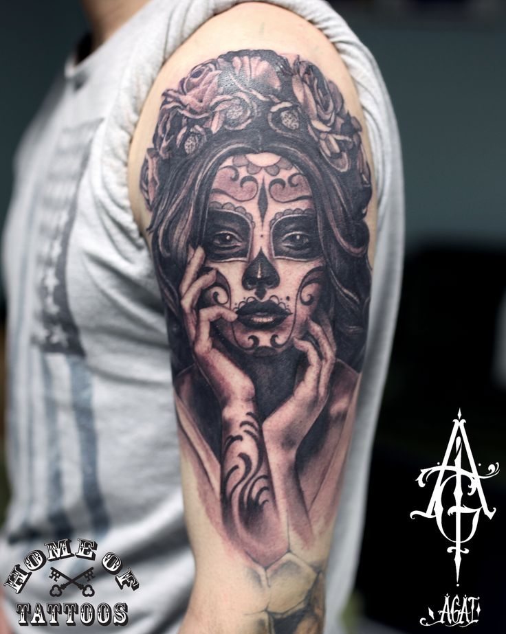 Muerte day! Custom work, about 5-6h, hope you like it) tattoo, art, muerte, muerte tattoo, muerte girl, portrait, girl, face, flowers