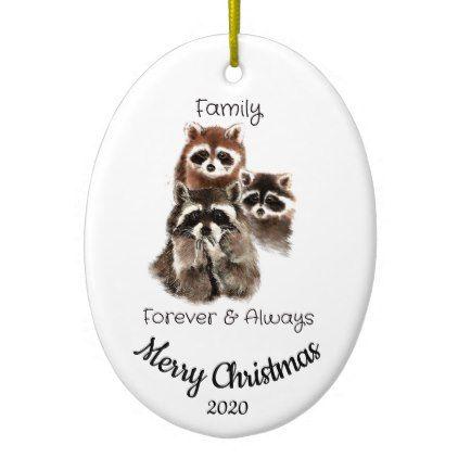 Custom Dated Christmas Family Quote Raccoon fun Ceramic Ornament - Xmas ChristmasEve Christmas Eve Christmas merry xmas family kids gifts holidays Santa