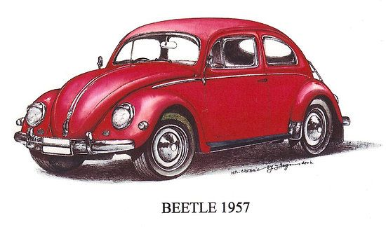 Red Volkswagen Beetle 1957.$3