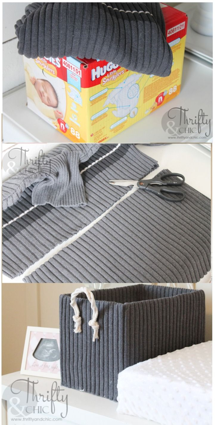 Create beautiful boxes from diaper boxes and old sweaters