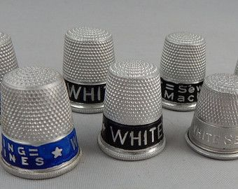 8 Vintage Advertising Thimbles WHITE SEWING MACHINE   NCJ21