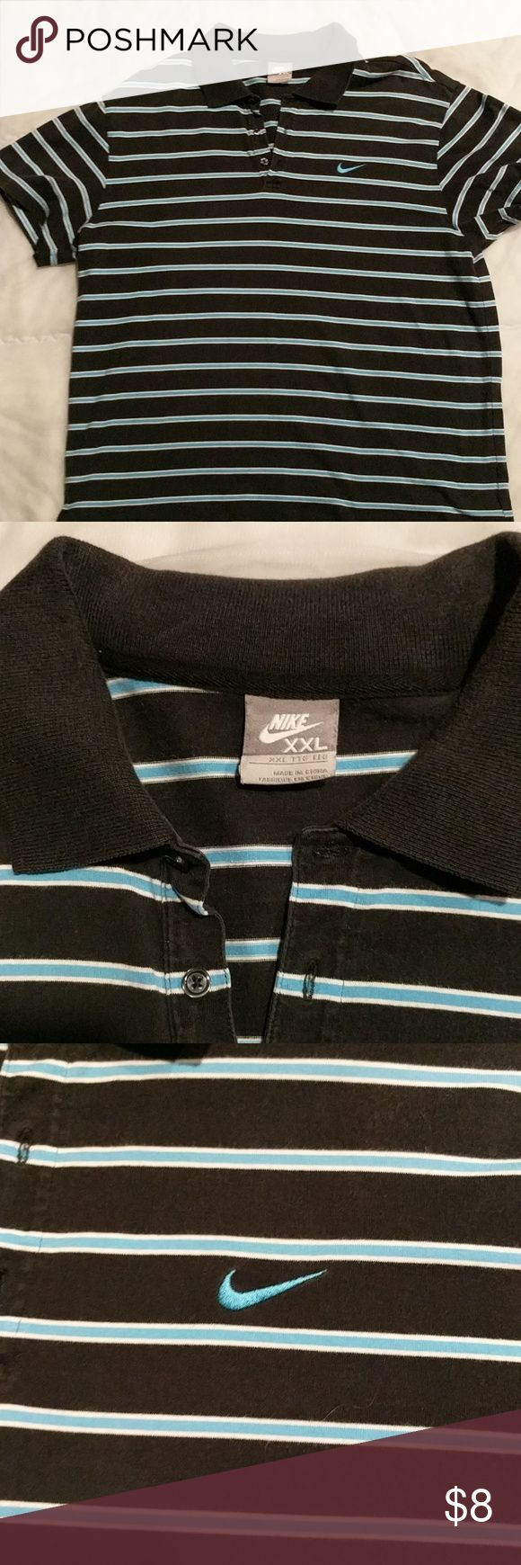 Nike polo shirts striped size XL to XXL great cond Nike polo shirt striped extra large to XXL. Great condition. Triple striped black with white and light blue stripes Nike Shirts Polos
