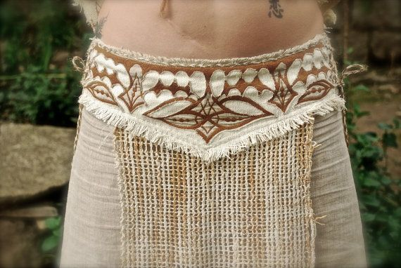 Natural Beauty Long Skirt  Linen Raw silk with Native Embroidery Natural Eco friendly Tribal ecological
