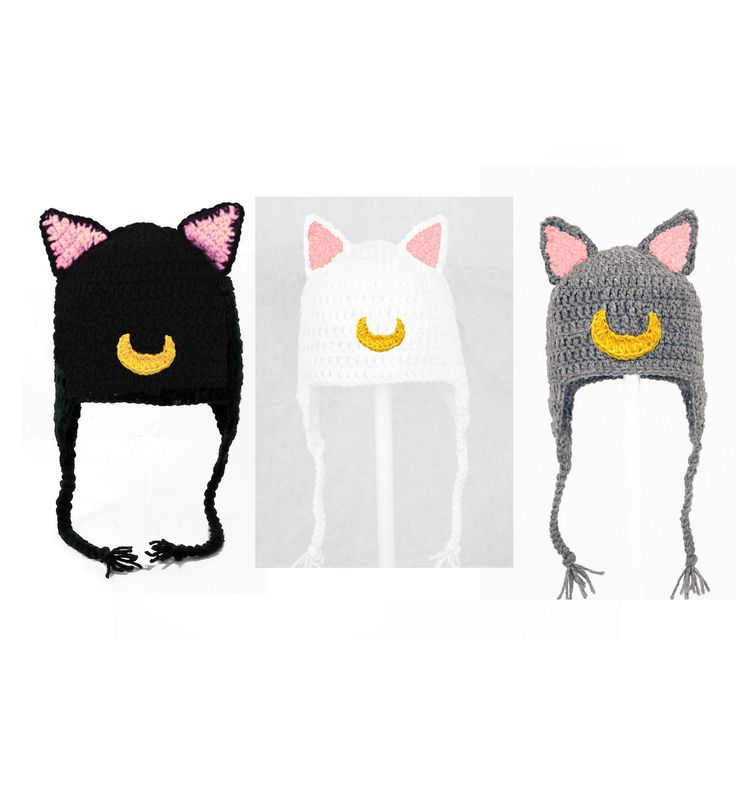 Sailor Moon Cat Earflap Hat Luna Artemis Diana Crochet Beanie