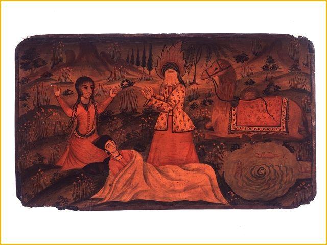 Falnameh, Lakwerkkaart voorstellende de profeet Mohammed die een zieke geneest- Collectie Tropenmuseum