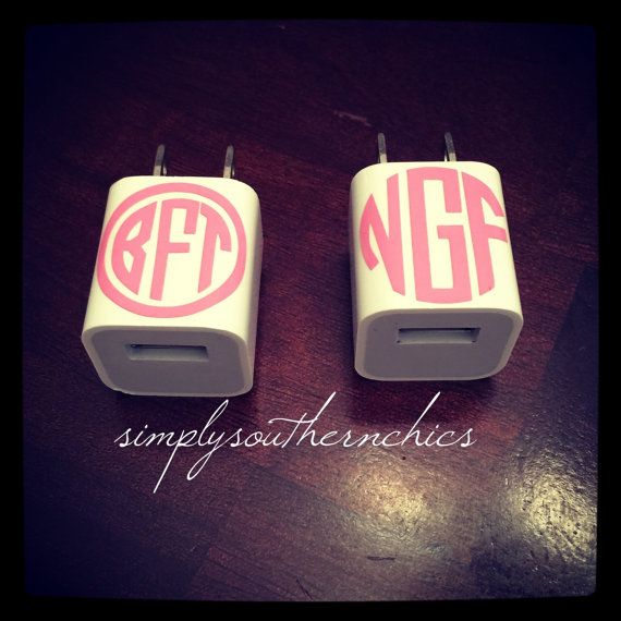 iPhone Charger Monogram Decal iPod Charger by SimplySouthernChics