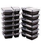 #3: SPACECARE 2 Compartment Lunch Box Food Storage Container Microwave Safe with clear airtight fitting lids12 -pack