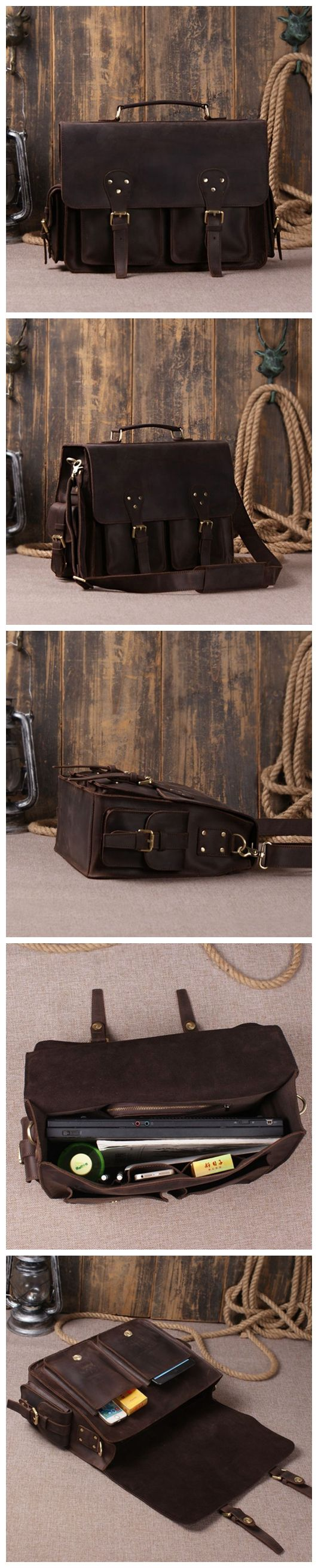 HANDCRAFTED RUSTIC LEATHER BRIEFCASE, MESSENGER BAG, LAPTOP BAG, MEN'S HANDBAG, MEN'S GIFT, LEATHER HANDMADE BAG, LEATHER GOODS, LEATHER CASE