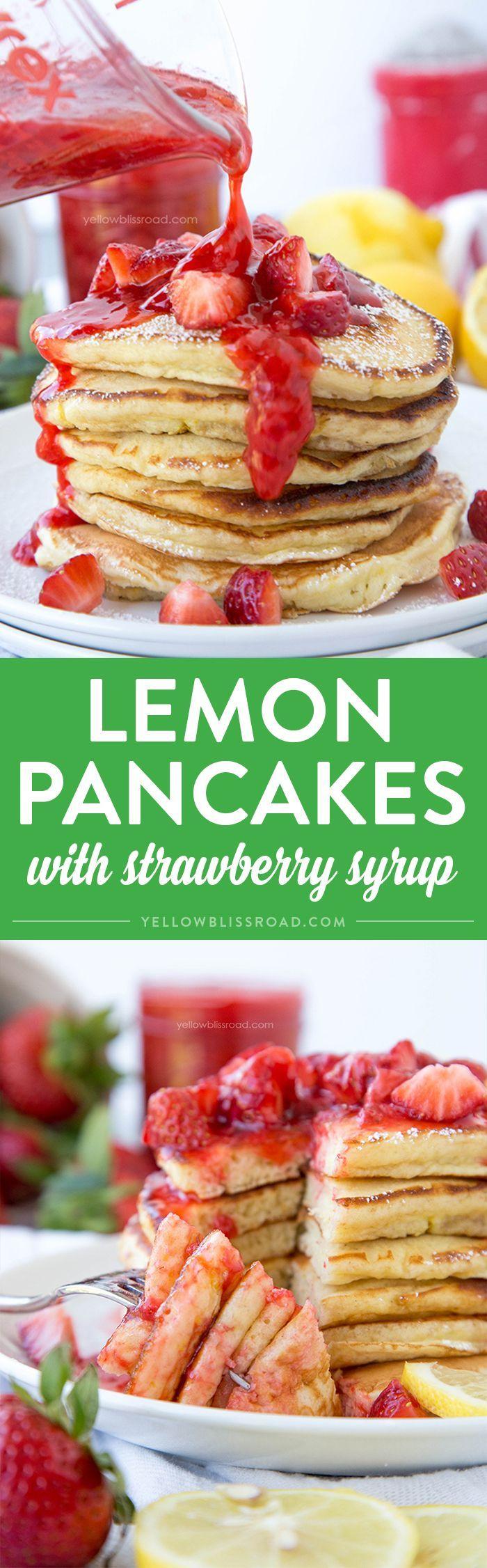 Lemon Pancakes with Fresh Homemade Strawberry Syrup - for brunch, breakfast or even dinner!